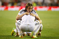 Real Madrid´s Gareth Bale celebrates a goal with Luka Modric during the Spanish Copa del Rey `King´s Cup´ final soccer match between Real Madrid and F.C. Barcelona at Mestalla stadium, in Valencia, Spain. April 16, 2014. (ALTERPHOTOS/Victor Blanco)