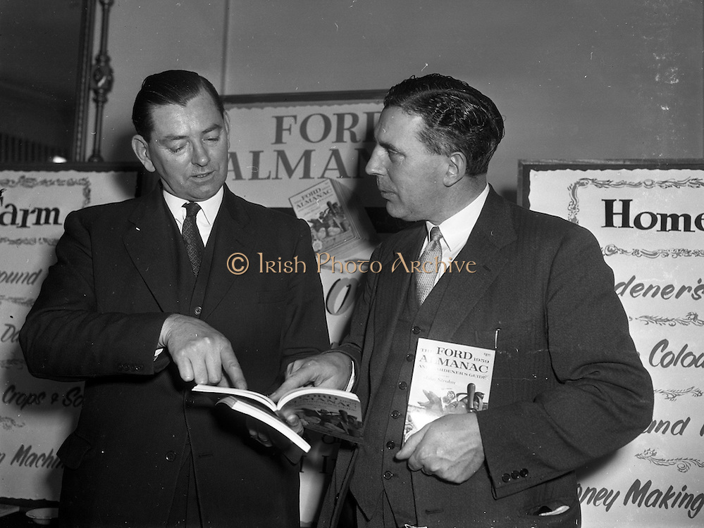 17/12/1959<br /> 12/17/1959<br /> 17 December 1959<br /> Presentation of Ford Farm and Home Almanac at the Shelbourne Hotel, Dublin. 2,250 Almanacs were presented to Agricultural Schools, Colleges, Universities and Macra na Feirme by Henry Ford and Son Ltd. Cork. Picture shows Mr C.F.J. Brooke-Harte, (left) Director and General Sales Manager Messrs Henry Ford and Son Ltd., Cork, presenting an almanac to Dr. J.B. Ruane, Professor of Farm Management Faculty of Agriculture, UCD who will arrange distribution among his Agricultural Students.