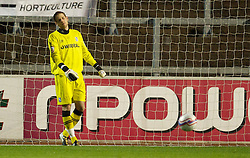 CARLISLE, ENGLAND - Tuesday, November 2, 2010: Tranmere Rovers' goalkeeper Peter Gulacsi looks dejected after Carlisle United score the opening goal during the Football League One match at Brunton Park. (Pic by: David Rawcliffe/Propaganda)