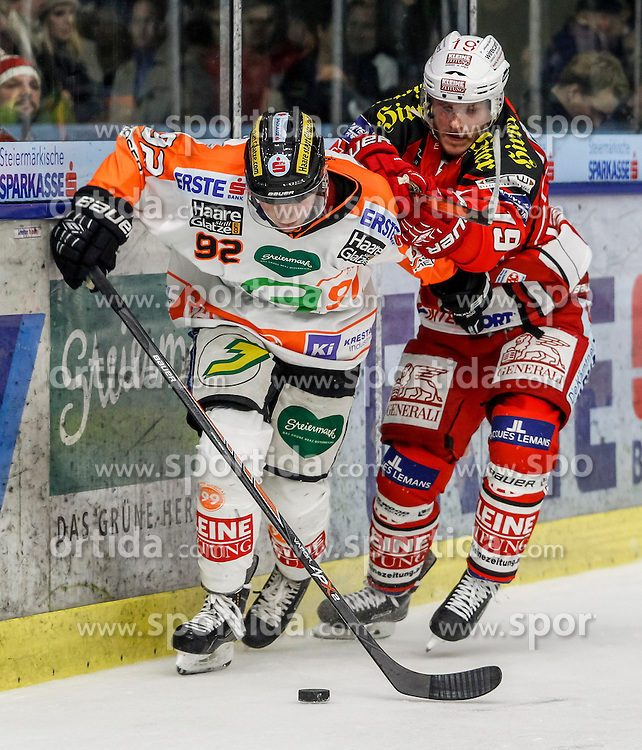 20.11.2014, Eisstadion Liebenau, Graz, AUT, EBEL, Moser Medical Graz 99ers vs EC KAC, 19. Runde, im Bild Clemens Unterweger (Moser Medical Graz 99ers) und Stefan Geier (EC KAC) // during the Erste Bank Icehockey League 19th Round match between Moser Medical Graz 99ers and EC KAC at the Ice Stadium Liebenau, Graz, Austria on 2014/11/20, EXPA Pictures © 2014, PhotoCredit: EXPA/ Erwin Scheriau