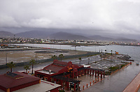 "(Image seven of nine) Panorama of the Ensenada harbor in Mexico on a grey and raining day from the deck of the MV World Odyssey. The other cruse ship is the Carnival Imagination. Once all of the students, faculty, staff, and life long learners were aboard we would be ready to begin the 102 day ""round the world"" Semester at Sea Spring 2016 Voyage. Composite of nine images taken with a Leica T camera and 23 mm f/2 lens (ISO 250, 23 mm, f/2, 1/80 sec). Panorama stitched using AutoPano Giga Pro."