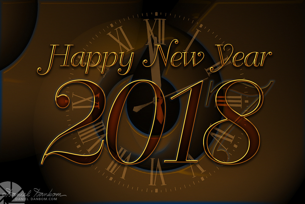 New Year greeting, graphic panel, abstract, clock face, year transition, 2017 to 2018