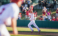 Steven Reveles (5) of the Nebraska Cornhuskers celebrates after hitting a walk-off home run during Nebraska's 6-4 win over Loyola Marymount University at Haymarket Park in Lincoln, Neb., on March 11, 2016. Photo by Aaron Babcock, Hail Varsity