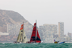 © Sander van der Borch.Alicante, 11 October 2008. Start of the Volvo Ocean Race. Puma and Ericcson 4 at the left side of the beat hugging the coast line towards the top mark of the first leg to from Alicante  to Capetown..