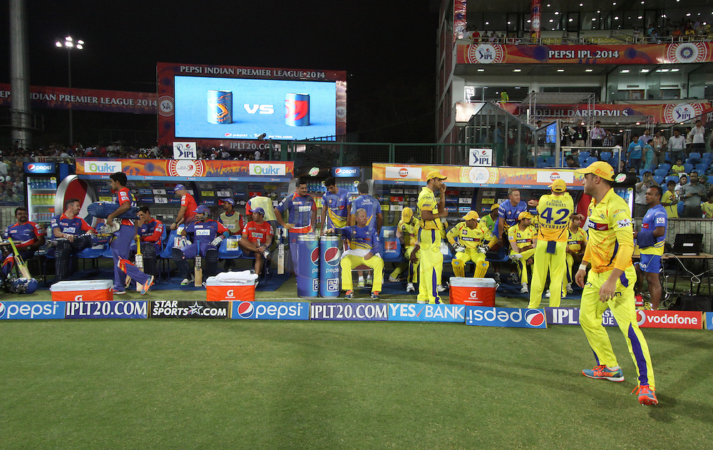 Delhi Daredevils and the Chennai Superkings players in dugout before  match 26 of the Pepsi Indian Premier League Season 2014 between the Delhi Daredevils and the Chennai Superkings held at the Ferozeshah Kotla cricket stadium, Delhi, India on the 5th May  2014<br /> <br /> Photo by Arjun Panwar / IPL / SPORTZPICS<br /> <br /> <br /> <br /> Image use subject to terms and conditions which can be found here:  http://sportzpics.photoshelter.com/gallery/Pepsi-IPL-Image-terms-and-conditions/G00004VW1IVJ.gB0/C0000TScjhBM6ikg
