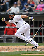 CHICAGO - APRIL 20:  Melky Cabrera #53 of the Chicago White Sox lays down a sacrifice bunt against the Los Angeles Angels of Anaheim on April 20, 2016 at U.S. Cellular Field in Chicago, Illinois.  The White Sox defeated the Angels 2-1.  (Photo by Ron Vesely)   Subject: Melky Cabrera