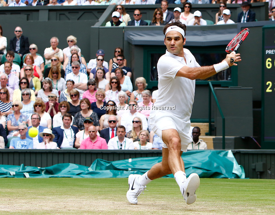 04.07.2016. All England Lawn Tennis and Croquet Club, London, England. The Wimbledon Tennis Championships Day 8. Number 3 seed, Roger Federer (SUI) hits a backhand during his singles match against  Steve Johnson (USA).