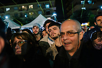 POMIGLIANO D'ARCO, ITALY - 6 MARCH 2018: Fellow citizens and supporters of Luigi Di Maio, leader of the Five Star Movement who returned to his his hometown to celebrate the movement's victory in the 2018 Italian General Elections, listen to his speech in Pomigliano D'Arco, Italy, on March 6th 2018.<br /> <br /> The Five-Star Movement, became the first party in Italy, with 33 percent of the vote.
