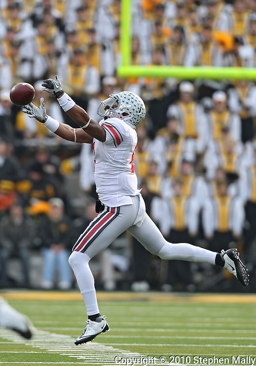 November 20 2010: Ohio State Buckeyes wide receiver DeVier Posey (8) can't quite pull in a pass during the first quarter of the NCAA football game between the Ohio State Buckeyes and the Iowa Hawkeyes at Kinnick Stadium in Iowa City, Iowa on Saturday November 20, 2010. Ohio State defeated Iowa 20-17.
