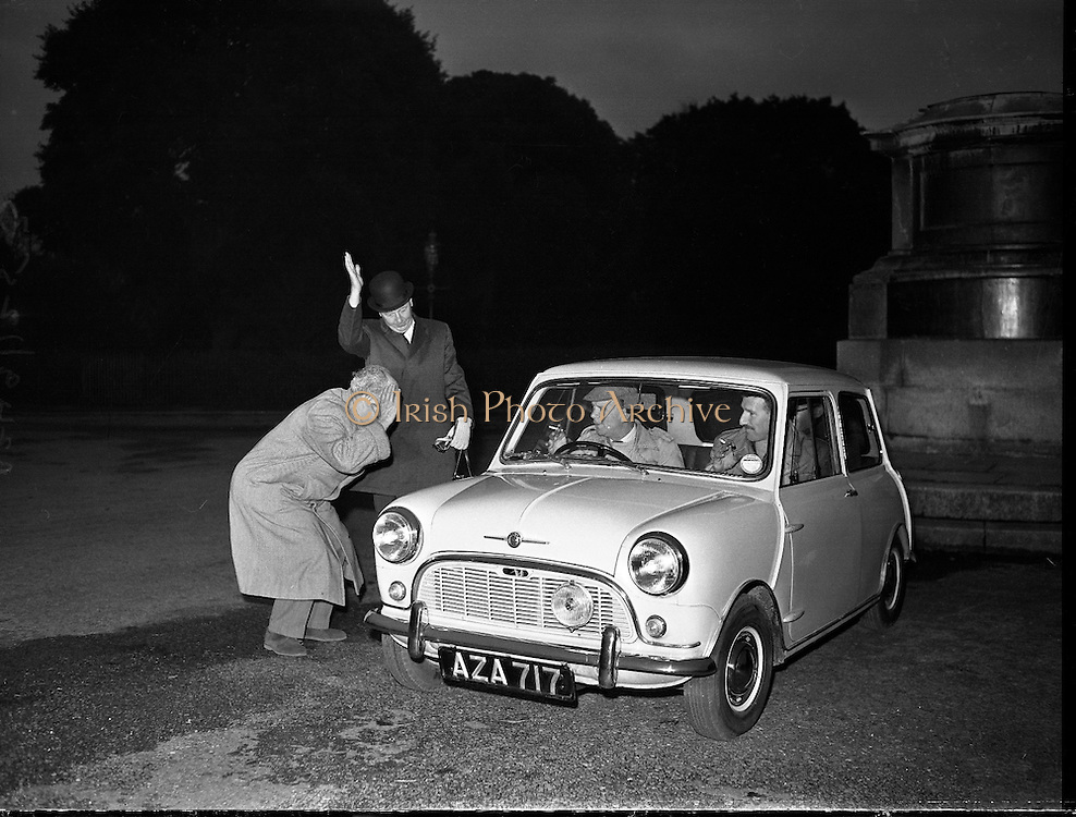 Mini Minor leaves Phoenix Park for 100 mile circuit 09/12/1959<br /> <br /> Thanks to David Coleman for correcting our original caption - of course it's a Mini Minor not a Morris Minor!