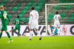 Abass Issah of NK Olimpija Ljubljana and Marko Obradovic of NK Maribor during football match between NK Olimpija Ljubljana and NK Maribor in 1st leg match in Quaterfinal of Slovenian cup 2017/2018, on November 11, 2017 in SRC Stozice, Ljubljana, Slovenia.  Photo by Ziga Zupan / Sportida