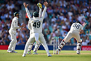 The Australians unsuccessfully appeal for a wicket against Joe Root of England off the bowling of Nathan Lyon of Australia during the 5th International Test Match 2019 match between England and Australia at the Oval, London, United Kingdom on 12 September 2019.