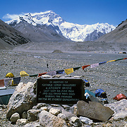 The memorial plaque to George Leigh Mallory and Andrew Comyn Irvine who were lost high on Mount Everest on June 8, 1924; at Rongbuk Baseamp, Tibet, China.