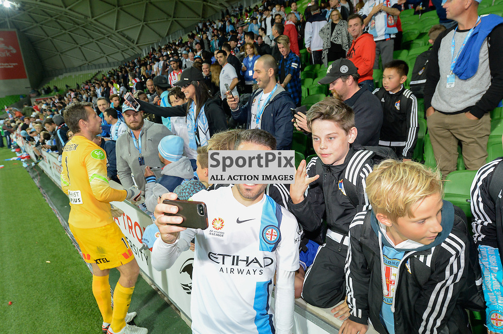 Anthony Caceres of Melbourne City with excited fans at the end of the Hyundai A-League, March 18th 2016, ROUND 24 - Melbourne City FC v Brisbane Roar FC in a 3:1 win to City after a slow first half at Aami Park, Melbourne Australia. © Mark Avellino | SportPix.org.uk