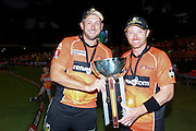 January 28th 2017, WACA Ground, Perth, Australia; BBL Cricket League Final; Perth Scorchers versus Sydney Sixers; Tim Bresnan and Ian Bell hold the winners trophy they won playing for the Perth Scorchers in the BBl T20 competition in Australia.