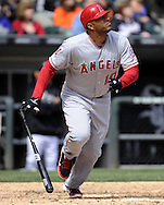 CHICAGO - APRIL 17:  Vernon Wells #10 of the Los Angeles Angels hits a triple in the sixth inning against the Chicago White Sox on April 17, 2011 at U.S. Cellular Field in Chicago, Illinois.  The Angels defeated the White Sox 4-2.  (Photo by Ron Vesely)  Subject:  Vernon Wells
