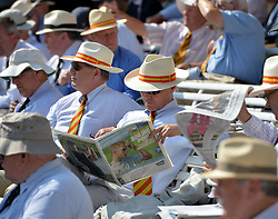 © Licensed to London News Pictures. 18/07/2013. An MCC member reads the paper in the pavillion during Second Test England v Australia The Ashes Lord's Cricket Ground, London. Photo credit: Mike King/LNP