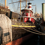 The Helen McAllister is an historic tugboat at the South Street Seaport Museum in New York.