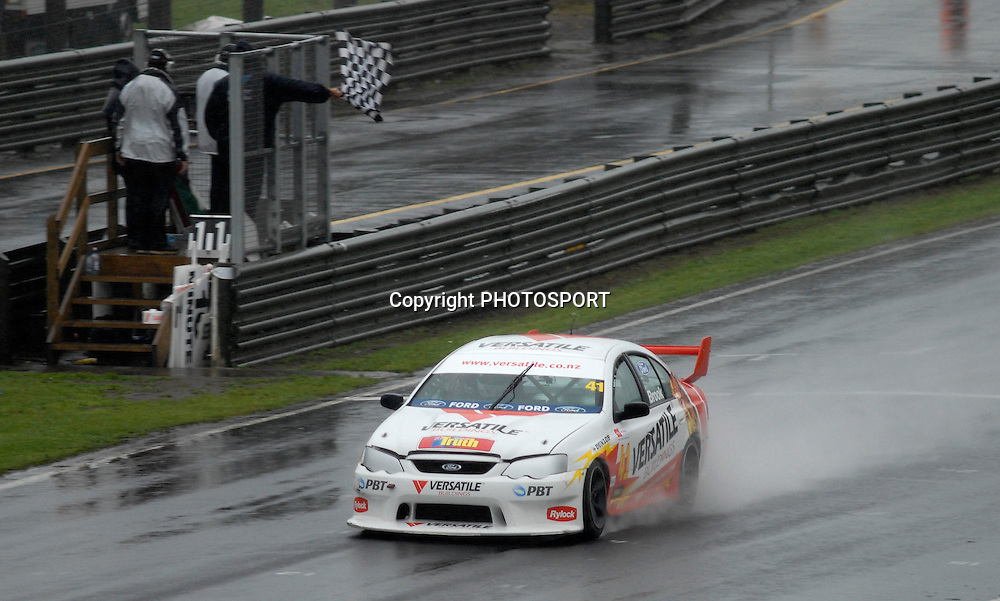 Adam Brook winning the Auckland Car Club 75th Anniversary Trophy race, New Zealand Truth V8s Championship, Pukekohe Park Raceway, New Zealand. Sunday 04 November 2007, Photo : William Booth/PHOTOSPORT
