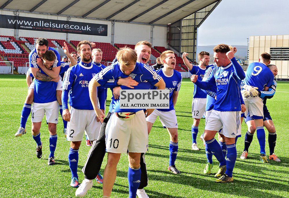 Peterhead players celebrate their championship success at the end of the game against Clyde<br /> (c) Billy White | SportPix.org.uk