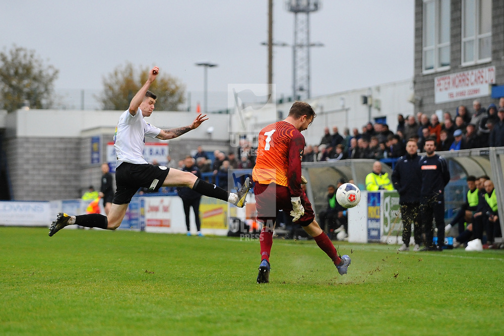TELFORD COPYRIGHT MIKE SHERIDAN Matt Stenson of Telford (on loan from Solihull Moors) closes down during the Vanarama National League Conference North fixture between AFC Telford United and Spennymoor Town on Saturday, November 16, 2019.<br /> <br /> Picture credit: Mike Sheridan/Ultrapress<br /> <br /> MS201920-030