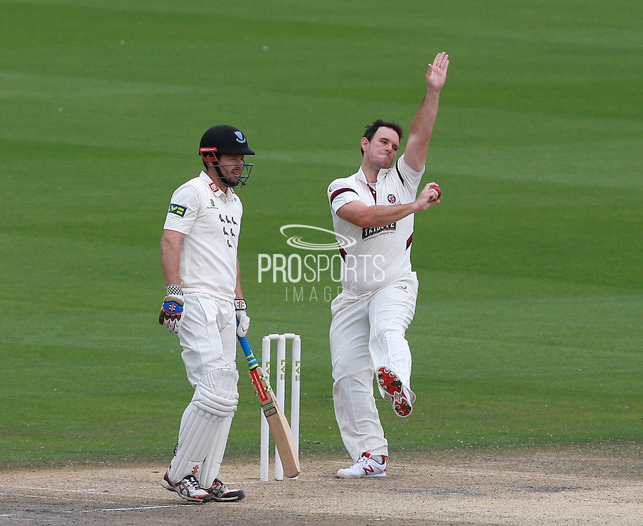 James Allenby bowls for Somersert during the LV County Championship Div 1 match between Sussex County Cricket Club and Somerset County Cricket Club at the BrightonandHoveJobs.com County Ground, Hove, United Kingdom on 14 September 2015. Photo by Bennett Dean.