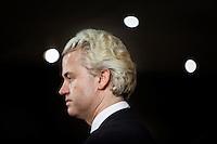 Nederland. Den Haag, 26 februari 2010.<br /> Partij voor de Vrijheid, PVV. Campagnebijeenkomst in een zaaltje Ockenburgh Active in het kader van de gemeenteraadsverkiezingen. <br /> Politieke partij, aanhang, Geert Wilders, Politiek, lokale politiek<br /> Foto Martijn Beekman