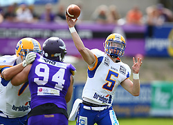 19.06.2016, FAC Stadion, Wien, AUT, AFL, AFC Vienna Vikings vs Projekt Spielberg Graz Giants, im Bild Michael Pribyl (Projekt Spielberg Graz Giants, OL, #77), Florian Gruensteidl (Vienna Vikings) und Christoph Gubisch (Projekt Spielberg Graz Giants, QB, #5) // during the AFL game between AFC Vienna Vikings vs Projekt Spielberg Graz Giants at the FAC Stadion, Vienna, Austria on 2016/06/19. EXPA Pictures © 2016, PhotoCredit: EXPA/ Thomas Haumer