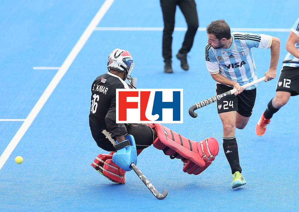 LONDON, ENGLAND - JUNE 24: Manuel Brunet of Argentina scores their teams second goal during the semi-final match between Argentina and Malaysia on day eight of the Hero Hockey World League Semi-Final at Lee Valley Hockey and Tennis Centre on June 24, 2017 in London, England. (Photo by Alex Morton/Getty Images)