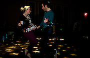 "Aimee Rancer hits the dance floor with Devon Turchan during  ""Dance Your Trash Off"" in the Baker Center Ballroom..photo by Kevin Riddell"
