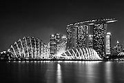 Night Scenery of Flower Dome at Garden by the Bay and Marina Bay Sand in Black and White