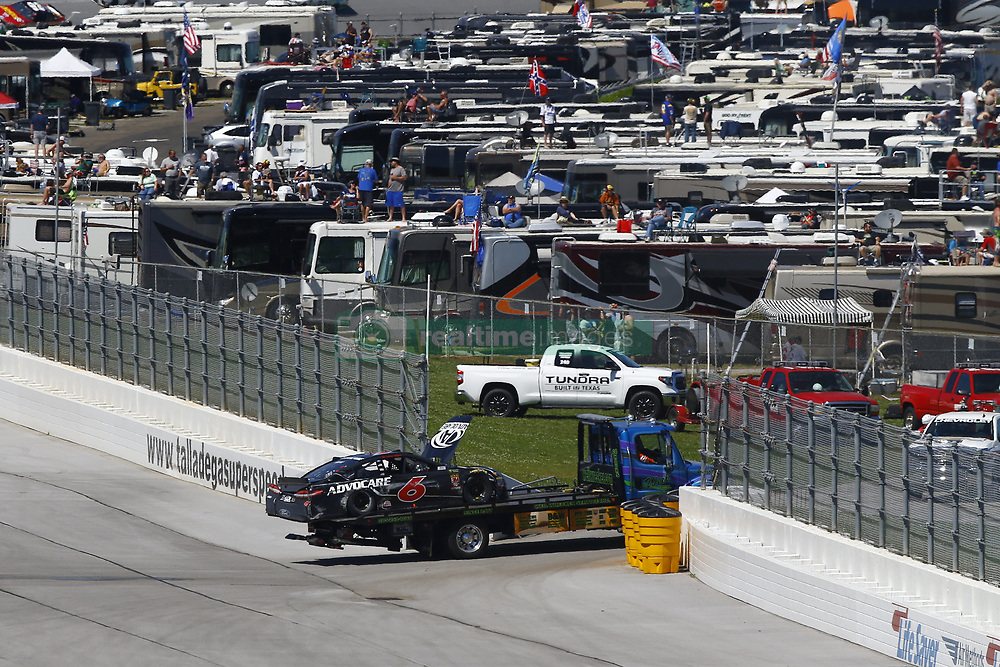 April 29, 2018 - Talladega, Alabama, United States of America - The car of Trevor Bayne (6) is towed back to the infield after a wreck during the GEICO 500 at Talladega Superspeedway in Talladega, Alabama. (Credit Image: © Chris Owens Asp Inc/ASP via ZUMA Wire)