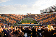 October 15, 2011: Kinnick Stadium is striped black and gold on Spirit Day as the marching band plays before the start of the NCAA football game between the Northwestern Wildcats and the Iowa Hawkeyes at Kinnick Stadium in Iowa City, Iowa on Saturday, October 15, 2011. Iowa defeated Northwestern 41-31.
