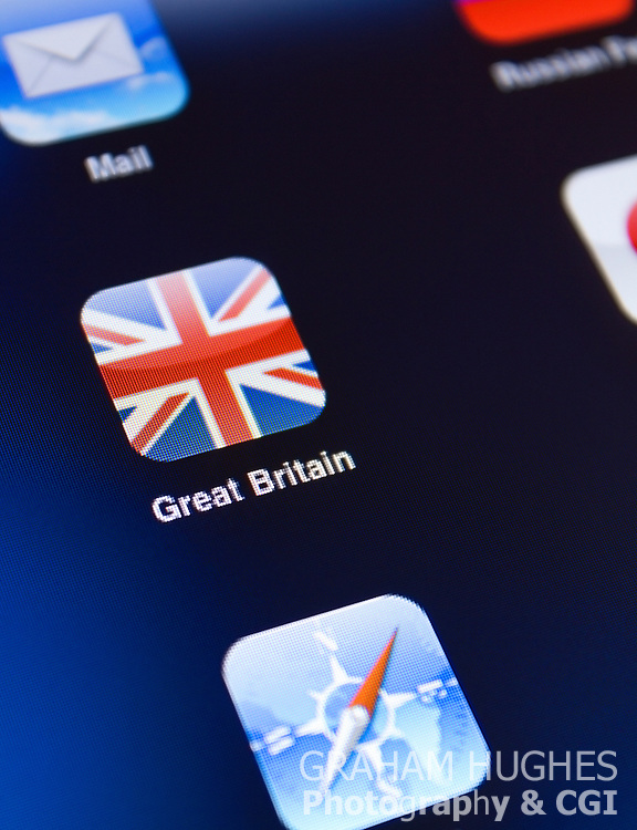 Great Britain Union Jack Flag App Icon on iPad 2 touch screen.