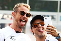 Renntag beim GP von Italien 2016 in Monza<br /> <br /> / 040916<br /> <br /> ***(L to R): Jenson Button (GBR) McLaren with Felipe Massa (BRA) Williams on the drivers parade.<br /> 04.09.2016. Formula 1 World Championship, Rd 14, Italian Grand Prix, Monza, Italy, Race Day.<br />  ***