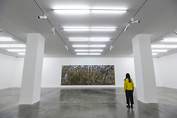 """© Licensed to London News Pictures. 14/11/2019. LONDON, UK. A staff member views """"Right Wing, Left Wing"""", 2019, by Anselm Kiefer at the preview of a new exhibition called """"Superstrings, Runes, The Norns, Gordian Knot"""" by Anselm Kiefer.  The works include large scale paintings and installations that draw on the scientific concept of string theory and are on display at the White Cube Gallery in Bermondsey 15 November to 26 January 2020.  Photo credit: Stephen Chung/LNP"""