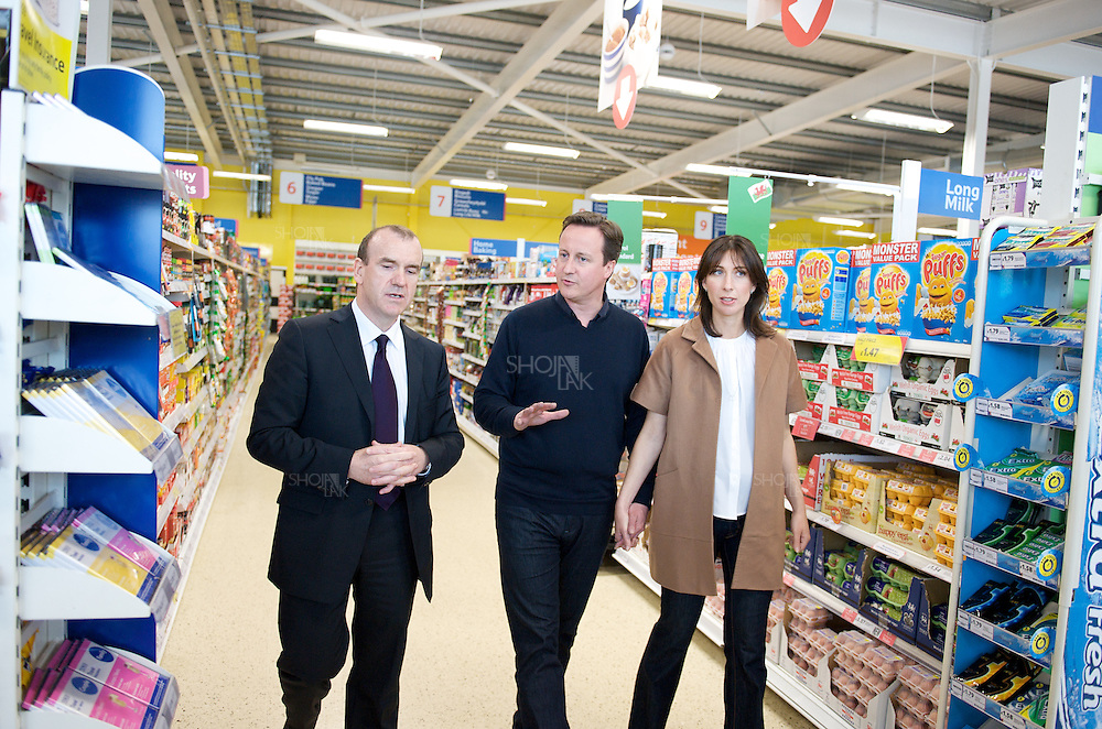 Britain's opposition Conservative Party leader, David Cameron and his wife Samantha visit Tesco supermarket on May 2, 2010 in Holywell, Flintshire, North Wales.