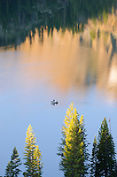 Pine trees and fishing boat on Lower Sardine Lake with reflections of the Sierra Buttes in Tahoe National Forest, California.