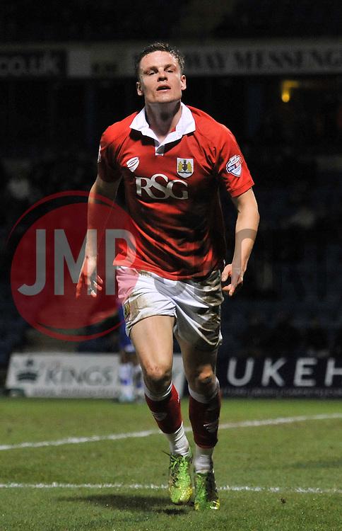 Bristol City's Matt Smith celebrates his goal. - Photo mandatory by-line: Dougie Allward/JMP - Mobile: 07966 386802 - 06/01/2015 - SPORT - football - Gillingham - Priestfield Stadium - Gillingham v Bristol City - Johnstone Paint Trophy - Area final