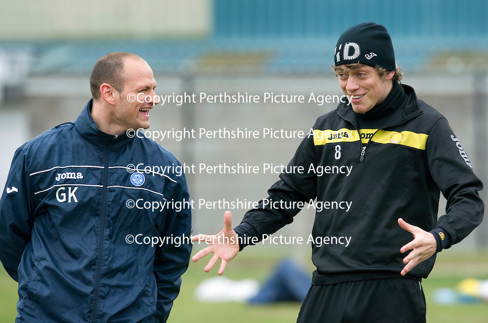 St Johnstone Training....23.03.12<br /> Murray Davidson pictured with fitness coach Graham Kirk during training this morning....<br /> Picture by Graeme Hart.<br /> Copyright Perthshire Picture Agency<br /> Tel: 01738 623350  Mobile: 07990 594431