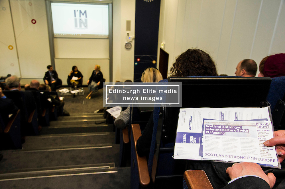 Pictured: <br /> Professor Mona Siddiqui, chair of the Scotland Stronger in Europe Advisory Group, Jayne-Anne Gadhia, CEO of Virgin Money, and campaign spokesman John Edward joined others to provide a Scotland Stonger in Europe briefing in Edinburgh today. <br /> <br /> Ger Harley | EEm 10 May April 2016