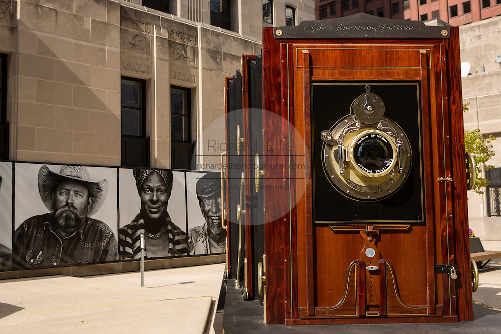 A giant wooden view camera art exhibition called Butterflies & Buffalo in Chicago, IL.
