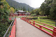 The walkway to the Byodo-In Temple in Kaneohe, Hawaii.
