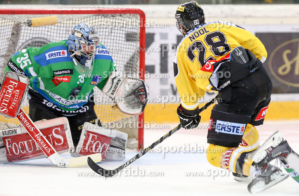 27.09.2015, Albert Schultz Halle, Wien, AUT, EBEL, UPC Vienna Capitals vs HDD TELEMACH Olimpija Ljubljana, 6. Runde, im Bild Oliver Roy (HDD TELEMACH Olimpija Ljubljana) und Andreas Noedl (Vienna Capitals) // during the Erste Bank Icehockey League 6th round match between UPC Vienna Capitals and HDD TELEMACH Olimpija Ljubljana at the Albert Schultz Halle in Vienna, Austria on 2015/09/27. EXPA Pictures © 2015, PhotoCredit: EXPA/ Alexander Forst