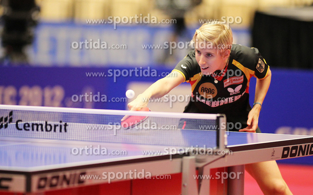 19.10.2012, MGH Arena, Herning, DEN, ETTU, Tischtennis Europameisterschaft, im Bild Kristin SILBEREISEN (GER) bei der Ballannahme // during the Table Tennis European Championships at the MGH Arena, Herning, Denmark on 2012/10/19. EXPA Pictures © 2012, PhotoCredit: EXPA/ Eibner/ Florian Wues ***** ATTENTION - OUT OF GER *****