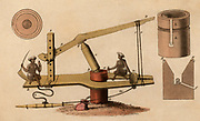 Sugar mill for crushing cane to extract juice which is being collected in pot at bottom left of central pillar: India. Hand-coloured engraving published Rudolph Ackermann, London 1822.