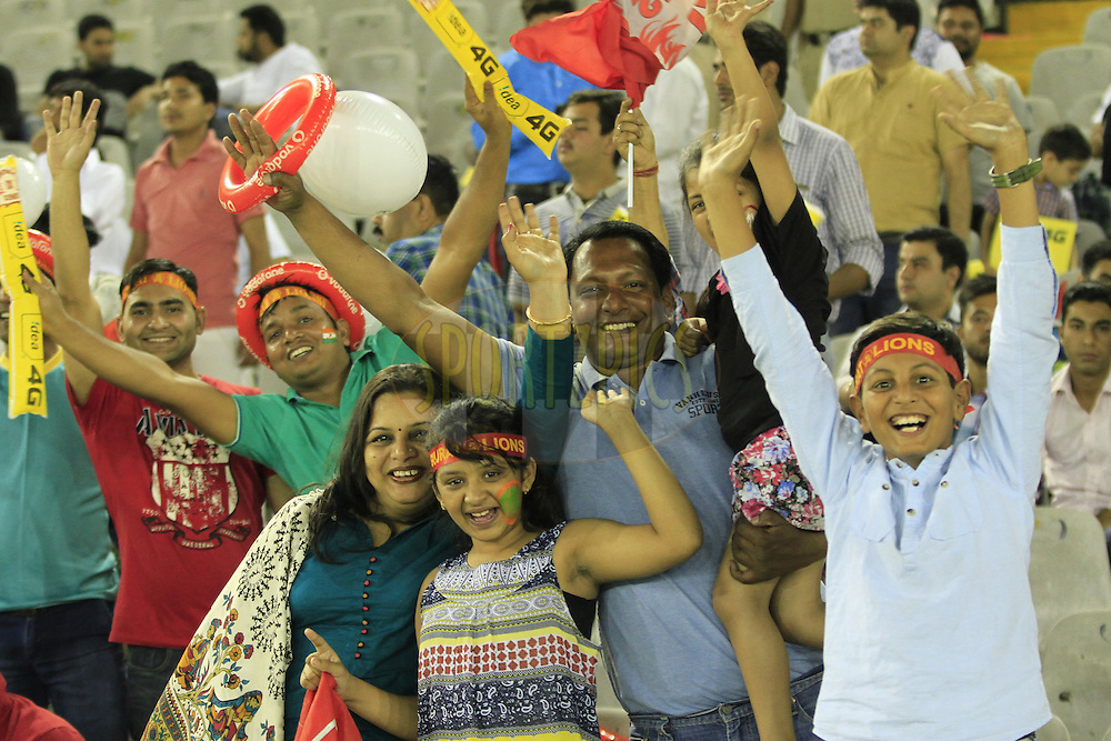 Fans during match 3 of the Vivo Indian Premier League ( IPL ) 2016 between the Kings XI Punjab and the Gujarat Lions held at the IS Bindra Stadium, Mohali, India on the 11th April 2016<br /> <br /> Photo by Arjun Singh/ IPL/ SPORTZPICS