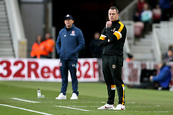 Middlesbrough manager Tony Pulis (left) and Newport County Manager Michael Flynn during the FA Cup fourth round match at Riverside Stadium, Middlesbrough.