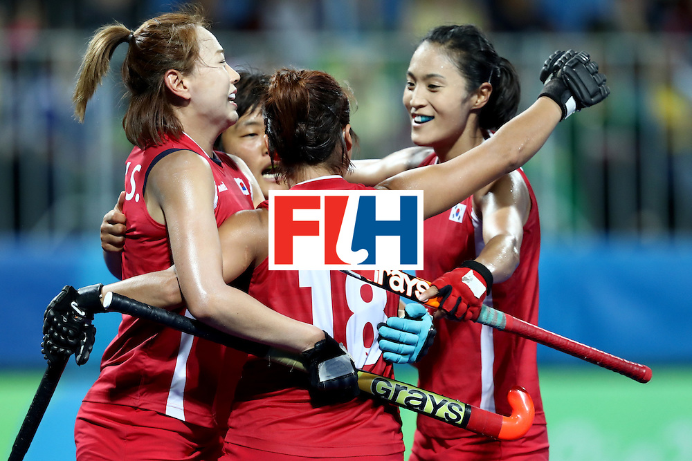 RIO DE JANEIRO, BRAZIL - AUGUST 13: Korea celebrate a goal  in the Women's Pool A match between the Republic of Korea and Spain on Day 8 of the Rio 2016 Olympic Games at the Olympic Hockey Centre on August 13, 2016 in Rio de Janeiro, Brazil.  (Photo by Phil Walter/Getty Images)
