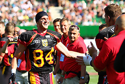16.07.2011, Ernst Happel Stadion, Wien, AUT, American Football WM 2011, Germany (GER) vs France (FRA), im Bild Niklas Römer (Germany, #84, WR) became MVP of the game from team germany // during the American Football World Championship 2011 game, Germany vs France, at Ernst Happel Stadion, Wien, 2011-07-16, EXPA Pictures © 2011, PhotoCredit: EXPA/ T. Haumer